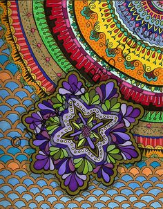 ©10-6-12 Purple Sanibelle Mandala- just beautiful Zen doodles with color