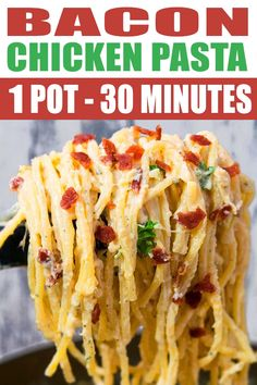 CHICKEN BACON RANCH PASTA RECIPE- Quick easy, made with simple ingredients in one pot. This 30 minute meal is creamy, cheesy. Loaded with bacon, cream cheese, cheddar and parmesan cheese. Can be made into a bake or casserole for a crowd. Chicken Bacon Ranch Pasta, Chicken Pasta Recipes, Easy Pasta Recipes, Spaghetti Recipes, Spaghetti Dinner, Dinner Recipes, Cooking Recipes, Easy Cooking, Dinner Ideas