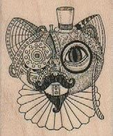 Steampunk   cat   face  rubber stamps place cards gifts   wood mounted 18433. $7.75, via Etsy.