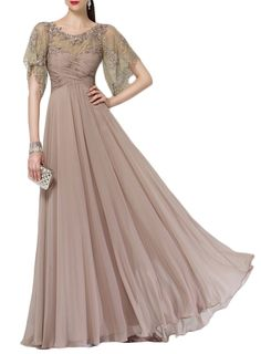 A Line Half Sleeves Floor Length Lace Chiffon Long Mother of the Bride Dresses Champagne Formal Gown 17167 Custom Order #macloth #prom #prom2017 #motherdress #formaldress #formalgown #evening #eveningdress #dress #gown