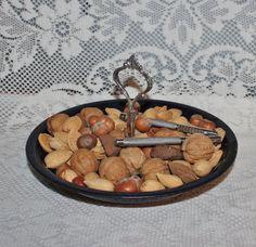 Tidbit tray Vintage Enamelware pie pan tray metal by prettydish