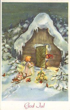 AK - WEIHNACHTEN - ZWERG - ENGEL - SCHLITTEN - TIERE - Gel. 1959 NORWEGEN | eBay