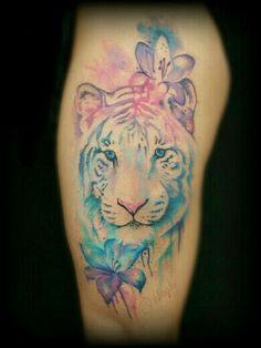 Peaceful tiger tattoo