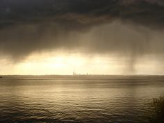Looking across Lake Washington toward Seattle as rain approaches