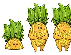 Graphic Design Illustration, Cute Cartoon, Adobe Illustrator, Pineapple, Character Design, Profile, Behance, Gallery, Check