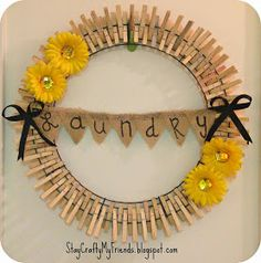 4 easy steps to make this wreath for your laundry room on this blog!!