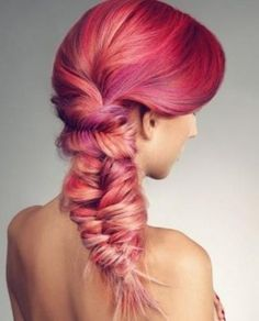 Pink ombre hair in a fish tail braid Hair Colorful, Bright Hair Colors, Multicolored Hair, Bright Pink, Ombre Hair, Magenta Hair, Pink Purple, Red Ombre, Hot Pink