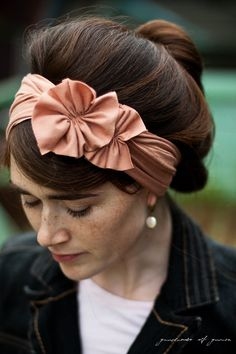 Nutmeg stretch Rosette wrap headband covering-- Garlands of Grace Autumn and wintertime.. $24.00, via Etsy.