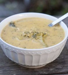 Slow Cooker Broccoli Cheddar Soup is a true staple in any soup repertoire. Healthy AND delicious - plus it's relatively hands-free! #slowcooker #soups #recipes #skinnyms