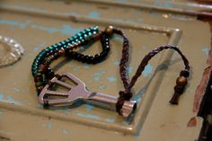 vintage / antique skeleton key beaded bracelet. $22.00, via Etsy.