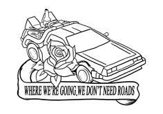 philwallart:  linework for a Back to the Future tattoo flash. Colours next!If you like my work please follow for more! :)  Yes.