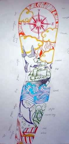 Tattoo design- Sailor sleeve by Anouk-Goodson #sleevetattoos