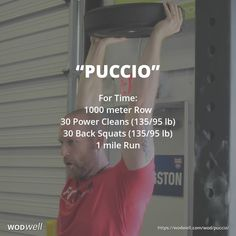 """Puccio"" WOD - For Time: 1000 meter Row; 30 Back Squats lb); 1 mile Run Wod Workout, Workout Days, Workout Memes, Fun Workouts, Prison Workout, Training Motivation, Fitness Motivation, Fitness Memes, Funny Fitness"