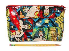 Wonder Woman DC Comics Felt lined zipper case by RolyPolyWorkshop