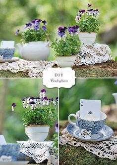 wonder if i can just buy wild flower seeds and try to grow them for the centerpieces. need to try this...tea cup planters is so cute!...