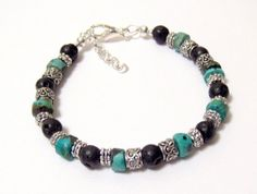 Blue Green Turquoise Disc and Black Lava Bead by OklahomaMama, $10.00