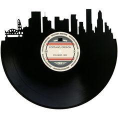 Portland Skyline Records Redone Label Vinyl by RecordsRedone Portland Skyline, Detroit Skyline, Nashville Skyline, Portland Oregon, Record Wall Art, Music Wall Art, Vinyl Wall Art, Nashville Art, Nashville Tattoo