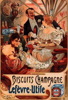 1896 Biscuits Champagne Lefèvre-Utile ( LU) Mucha
