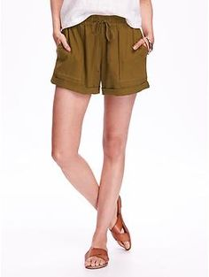 """Cuffed Linen Shorts for Women (4"""") 