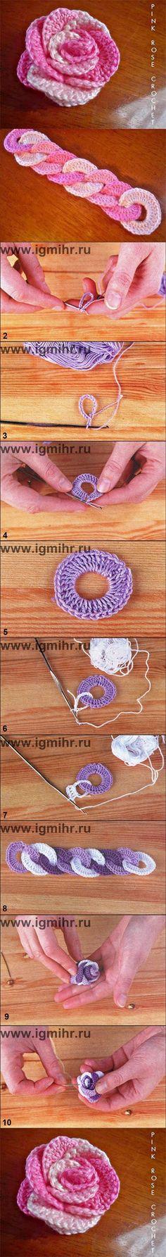 how to DIY Crochet Interlocking Rose, hairband, belt | www.FabArtDIY.com DIY Crochet Interlocking Rose Flower Free Pattern => http://www.fabartdiy.com/crochet-interlocking-rose-flower-free-pattern/ #Crochet