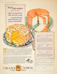 1928 Swans Down Cake Flour - Angel food cake recipe...
