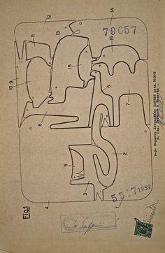 Illustrated design for Sedici Animali (English: 16 Animals) ergonomic animal puzzle, Italy, by Enzo Mari for Danese. Wooden Baby Toys, Wood Toys, Wood Projects, Woodworking Projects, Animal Puzzle, Wooden Animals, Diy Holz, Wooden Puzzles, Wooden Crafts