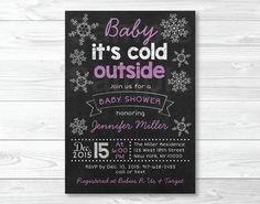 Snowflake Chalkboard Baby Shower Invitation by LittlePrintsParties