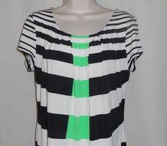 New York & Company Shirt Top Women Size M Short Sleeve Blue Green Stripe NWT #NewYorkCompany #Tunic #Career