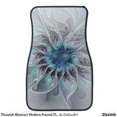 Flourish Abstract Modern Fractal Flower With Blue Car Floor Mat