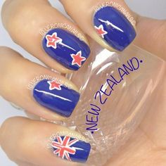 New Zealand flag nails Cute Nail Art, Cute Nails, Pretty Nails, Gymnastics Nails, New Zealand Flag, Flag Nails, All Things New, The Beautiful Country, How To Do Nails