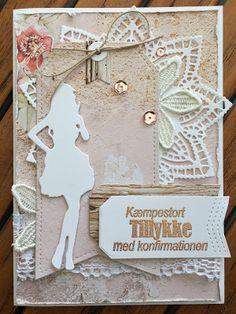 HAPPYMADE: Konfirmationskort til pigen Arts And Crafts, Paper Crafts, Envelope Punch Board, Scrapbook Cards, Scrapbooking, Hula, Lipsy, Tim Holtz, Diy Cards