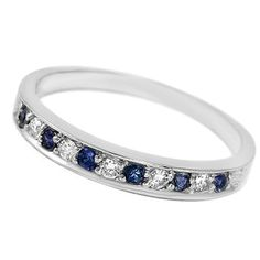 Alternating Blue Sapphire & Diamond Wedding Ring Band