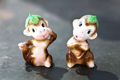 Vintage Monkey Salt and Pepper Shakers by ReneeVintage