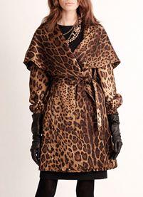 Daniela Walnut Leopard Print Coat by St. John