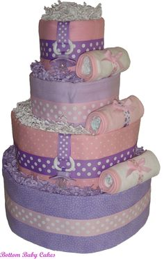 baby girl diaper cakes | ... Baby Girl Pink and Purple Diaper Cake, Girl Diaper Cakes, Baby Diaper