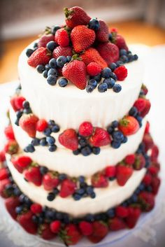 This is a terrific idea for a summer or patriotic themed wedding. Brilliant tier cake covered in fresh strawberries and blueberries!