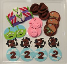 Toy Story Fondant Cupcake Toppers - 12 qty Woody Hat, Lightyear wings, aliens, cowboy, pig
