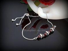 January Birthstone Red Garnet Bracelet Women Slider Bracelet