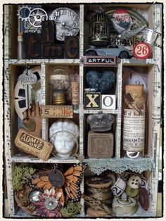All About Me Box in the style of Joseph Cornell -this could be translated into card, clay or mixed media. You could create your own box of objects to draw from.