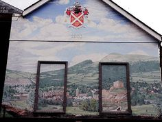 PIC OF THE DAY 15.10.13: Mural above shops in Red Square in Abergavenny Pic: Chris Tinsley