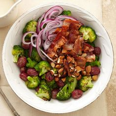 Prep this partyworthy Broccoli-Grape Salad in less than 15 minutes. It's made with juicy red grapes and oil-tossed broccoli, then is coated in a sweet homemade dressing. Save the best for last by topping it with crisp, savory bacon.