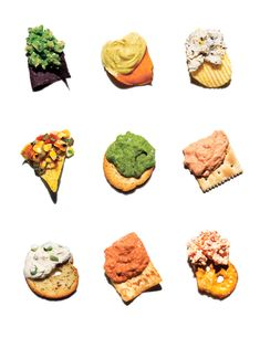 Party dip: Tomatillo & Avocado / Curry Yogurt / Lemon, Pepper, and Pecorino / Charred Corn & Tomato Salsa / Spinach & White Bean / Pimiento Cheese / Roasted Garlic & Scallion / Red Pepper, Walnut, & Tahini / Feta & Sun-Dried Tomato Party Dips, Party Snacks, Appetizers For Party, Avocado Dip, Appetizer Dips, Appetizer Recipes, Snack Recipes, Water Recipes, Snacks