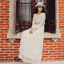 2016 Bahar Kadın Bağbozumu Beyaz Dantel Elbise Uzun Kollu Zarif Nakış Uzun Dantel Elbiseler V Yaka Retro Sonbahar G1725(China (Mainland))