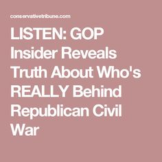 LISTEN: GOP Insider Reveals Truth About Who's REALLY Behind Republican Civil War