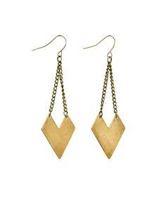 The Brass Arrowhead Earrings by JewelMint.com, $24.00