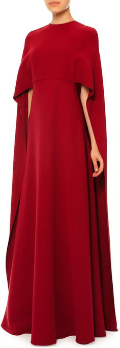 Valentino Jewel-Neck Half-Sleeve Capelet Gown, Red