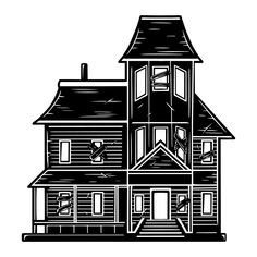 Monochrome Halloween Ghost House vector illustration. On www.dgimstudio.com you'll find a great collection of NEW Halloween designs. 100% vector + editable texts. #house #halloween #fall2020 #halloween2020 #vector #vectorillustration