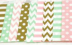 36 Mix 9 Style 5x7 Pink Mint Green Gold Treat bag in Chevron Dot,Stripe,Pink Mint Treat Bag,gold popcorn Girl Birthday Paper Bag