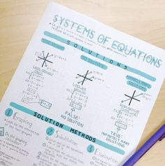 Systems of Equations Study Guide or Guided Notes by BuyNomials Math Notes, Class Notes, School Notes, Bullet Journal Notes, Bullet Journal Ideas Pages, Pretty Notes, Good Notes, School Organization Notes, College Notes