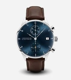 1815 Blue Sunray Chronograph Watch - Dark Brown Strap